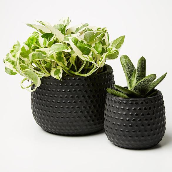 Hobnail Planter Set Black 1